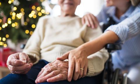 Senior citizen Festive Season Christmas wheelchair disabled 123rflifestyle 123rf