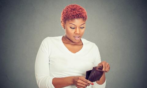 Money woman broke empty wallet personal finance making ends meet 123rf