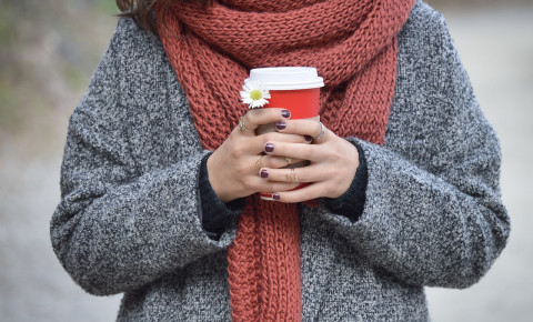 Woman coffee cold weather scarf sweater jersey