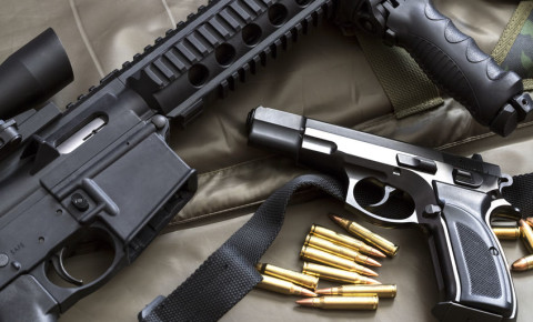 Firearms handgun and rifle and ammunition weapons 123rf