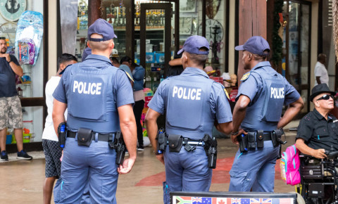 Three policemen police officers South African Police Service Saps 123rf