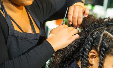 hair salon afro black woman stylist twists wash treatment trim cut 123rf