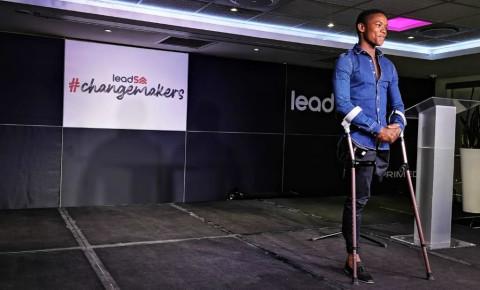 Dancer and choreographer Musa Motha speaking at the Changemakers 2019 .