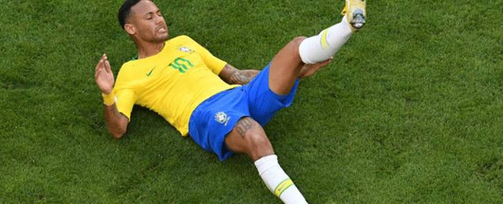 Brazil's forward Neymar falls on the ground during the Russia 2018 World Cup round of 16 football match between Brazil and Mexico at the Samara Arena in Samara on 2 July, 2018. Picture: AFP