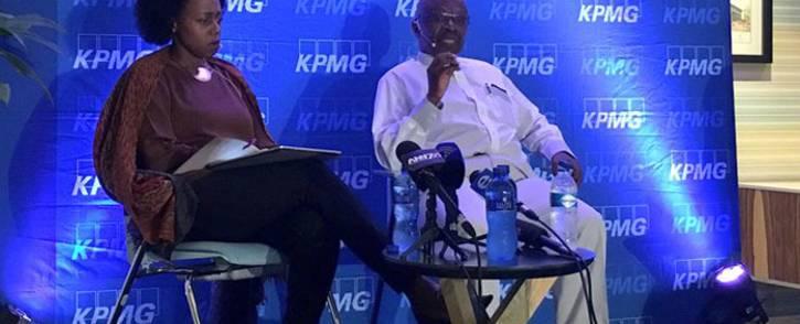 KPMG CEO Nhlamu Dlomu (left) and KPMG chairperson Wiseman Nkuhlu (right) speak at a media briefing on 15 April 2018. Picture: Katleho Sekhotho/EWN