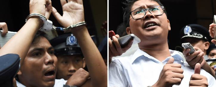 FILE: This combo shows journalists Kyaw Soe Oo (L) and Wa Lone (R) being escorted by police after their sentencing by a court to jail in Yangon on 3 September 2018. Two Reuters journalists were jailed for seven years for breaching Myanmar's Official Secrets Act during their reporting of the Rohingya crisis, a judge said, a case that has drawn outrage as an attack on media freedom. Picture: AFP.