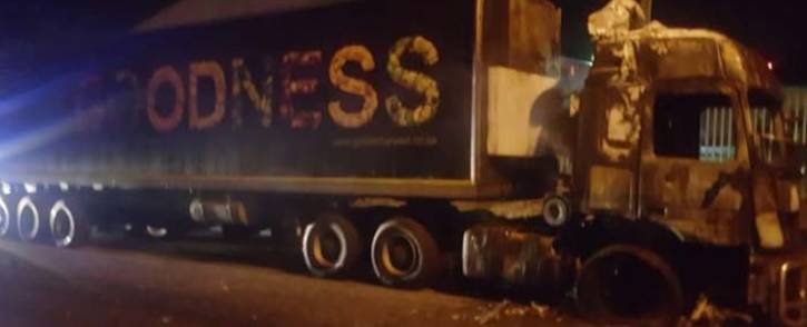 A truck that was set alight on Tuesday night during a protest on the N2 in George. Picture: SAPS