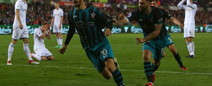Southampton's Manolo Gabbiadini (C) celebrates his goal during the English Premier League football match against Swansea City at The Liberty Stadium in Swansea, south Wales on 8 May, 2018. Picture: AFP