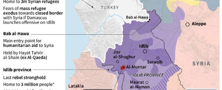 A map locating weekend air raids and territorial control in Idlib province, Syria, with data on the risk of a humanitarian crisis in the region. Picture: AFP