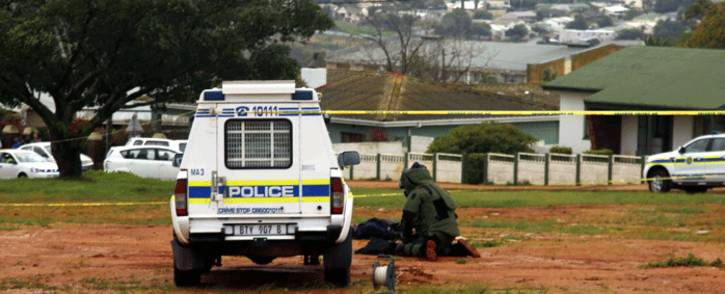 A member of the bomb disposal unit inspects a bag belonging to the Malmesbury mosque attacker on 14 June 2018. Picture: Cindy Archillies/EWN