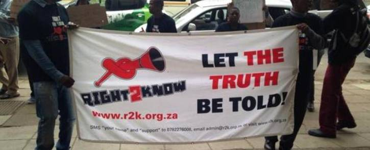 FILE: The Right to Know Campaign (R2K) called for the scrapping of the Seriti Commission of Inquiry which was investigating the controversial 1999 arms deal. Picture: Masego Rahlaga/EWN.