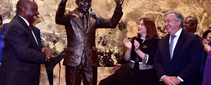 President Cyril Ramaphosa has unveiled a statue of Madiba at the United Nations headquarters in New York on Heritage Day. Picture: @PresidencyZA/Twitter