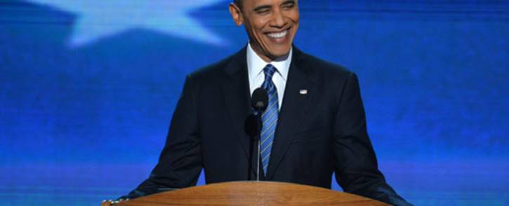 US President Barack Obama delivers his acceptance speech to run for a second term as president at the Time Warner Cable Arena in Charlotte, North Carolina, on 6 September 2012 on the final day of the Democratic National Convention (DNC). Picture: AFP.