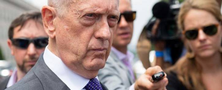FILE: US Secretary of Defense Jim Mattis speaks to the press outside of the Pentagon in Washington, DC, on 7 August 2018. Picture: AFP.
