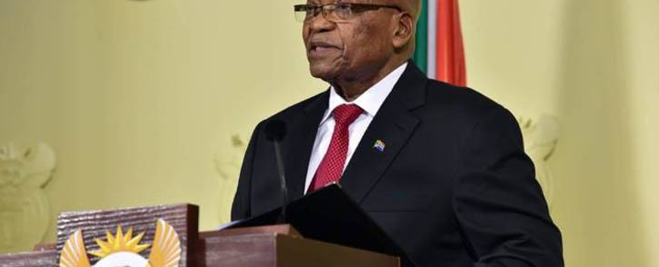 Jacob Zuma delivering an address on 14 February 2018 in which he announced his resignation as president of South Africa. Picture: GCIS