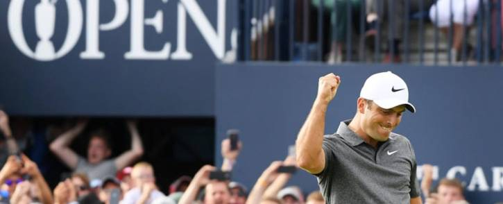 Francesco Molinari celebrates victory in the British Open at Carnoustie on 22 July 2018. Picture: @TheOpen/Twitter