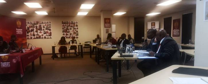 The SAHRC listens to a presentation on counterfeit goods from the Somali South Africa organisation on 12 September 2018. Picture: @SAHRCommission/Twitter