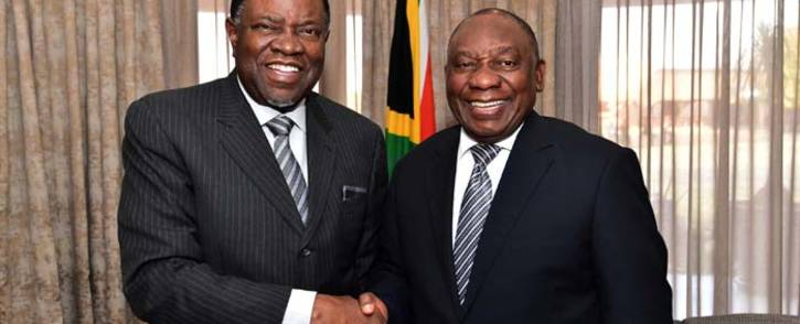 President Cyril Ramaphosa with President Hage Geingob of Namibia on the eve of the 38th Ordinary Summit of the Southern African Development Community. Picture: Dirco.