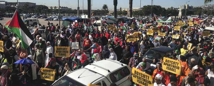 Thousands of pro-Palestine demonstrators marched to Parliament calling for Israel's ambassador to South Africa to be expelled. picture: Cindy Archillies/EWN