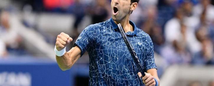 Novak Djokovic celebrates a point. Picture: @usopen/Twitter