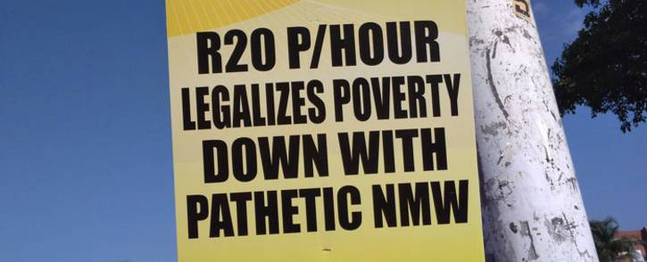 FILE: Marchers protest against the national minimum wage on 25 April 2018. Picture: @SAFTU_media/Twitter