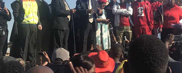 Johannesburg Mayor Herman Mashaba met with Alexandra residents on 3 June 2019 after 80 homes were demolished in the township, which prompted violent protests. Picture: @CityofJoburgZA/Twitter