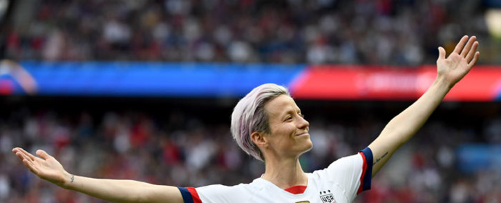 FILE: United States' forward Megan Rapinoe celebrates scoring her team's first goal during the France 2019 Women's World Cup quarter-final football match between France and United States, on 28 June 2019, at the Parc des Princes stadium in Paris. Picture: AFP
