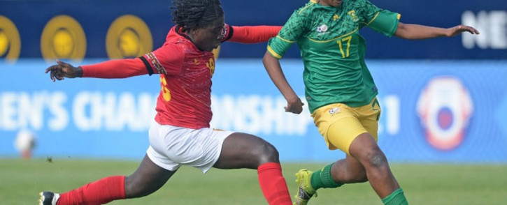 Banyana Banyana forward Melinda Kgadiete (right) in action against Angola during their Cosafa Women's Cup match on 1 October. Picture: @Banyana_Banyana/Twitter