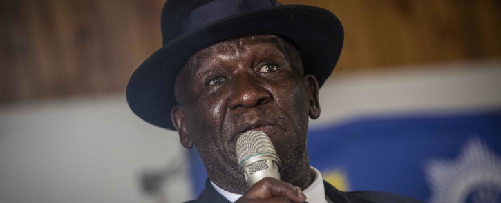 Police Minister Bheki Cele speaking to the leadership of farmers in Free State at Mitz Agricultural Union Hall. Picture: Abigail Javier/Eyewitness News