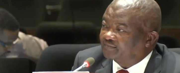 A screenshot of UDM leader Bantu Holomisa testifying at the PIC inquiry on 15 April 2019.