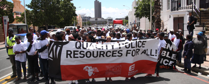 The SJC and Equal education marched to Parliament to highlight the lack of police resources in high crime areas. Photo: Bertram Malgas