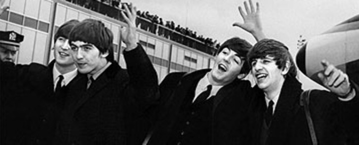The Beatles with, from left to right, John Lennon, Ringo Starr, Paul McCartney and George Harrison, arrive at John F. Kennedy Airport in New York, on February 07, 1964. Picture: AFP