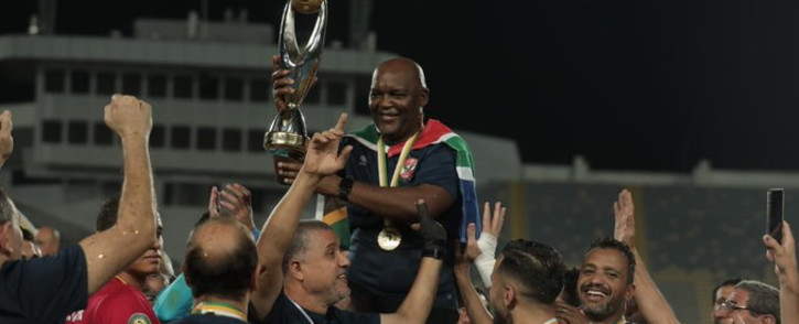 Al Ahly coach Pitso Mosimane celebrates the 3-0 victory against South African team, Kaizer Chiefs in the CAF final on Saturday, 17 July 2021. Picture: Twitter/ @AlAhlyEnglish
