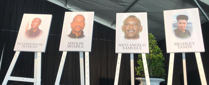 The men who died in an explosion at the Rheinmetall Denel Munitions depot in Somerset West, Western Cape, were remembered during a memorial service on 20 September. Picture: Cindy Archillies/EWN.