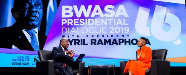 President Cyril Ramaphosa addresses a dialogue, convened under the theme 'The Economy is Woman', which is organised by the Businesswomen's Association of South Africa (BWASA) on 29 October 2019. Picture: GCIS