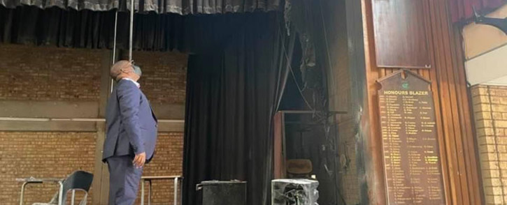 Gauteng Education MEC Panyaza Lesufi inspects the damage caused following an arson incident at the Glenvista High School. Picture: @EducationGP1/Twitter