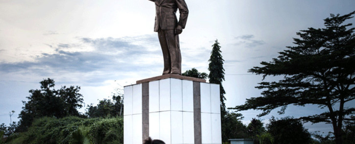 A statue of Omar Bongo is seen at a park in Franceville, Gabon, on May 21, 2019. Picture:  AFP.