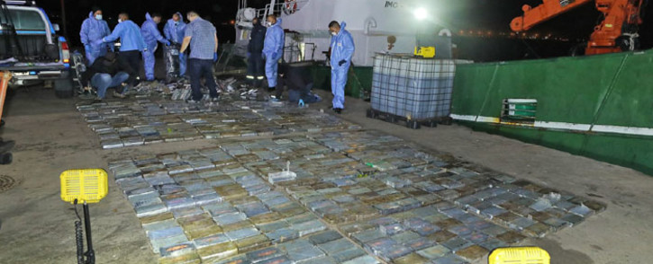 Police in the Western Cape seized cocaine valued at over R500 million from a fishing vessel on the Saldana coast on 1 March 2021. Picture: Twitter/@SAPoliceService