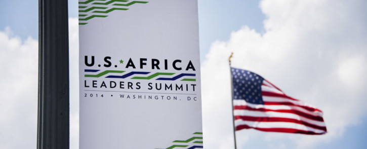 FILE:A sign advertising the upcoming US-Africa Leaders Summit hangs from a light pole outside the US State Department in Washington on 31 July 2014. Picture: AFP.