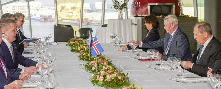 Russian Foreign Minister Sergei Lavrov (R) and Icelandic Foreign Minister Gudlaugur Thor Thordarson (L) attend a meeting during the 12th Arctic Council ministerial meeting at the Harpa Concert Hall in Reykjavik, Iceland, on 20 May 2021. Picture: Halldor Kolbeins/AFP