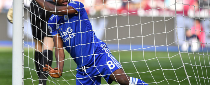 Leicester City's Nigerian striker Kelechi Iheanacho in the net after a missed shot during the English Premier League football match between West Ham United and Leicester City at The London Stadium, in east London on 20 April 2019.  Picture: AFP