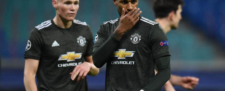 Manchester United striker Marcus Rashford (C) reacts to his side conceding a goal during the UEFA Champions League Group H football match RB Leipzig v Manchester United in Leipzig, eastern Germany, on 8 December 2020. Picture: AFP