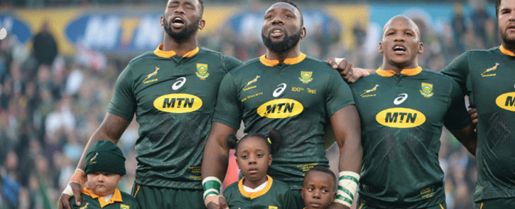 Springbok captain Siya Xolisi sings the national anthem ahead of their second test against England in Bloemfontein on 16 June 2018. Picture: Supplied