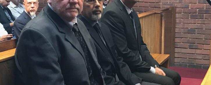 (From left) Andries Janse van Rensburg, Ivan Pillay and Johan van Loggerenberg in the Pretoria magistrates court on 9 April 2018. Picture: Barry Bateman/EWN