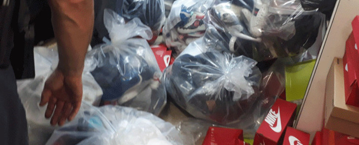 Counterfeit goods seized by the City of Joburg during overnight raids. Picture: @CityofJoburgZA/Twitter