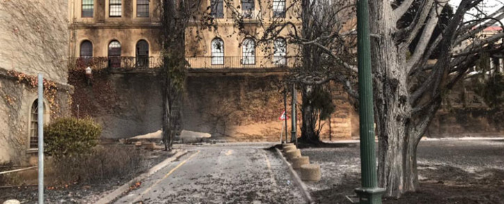 Charred trees and debris litter UCT's upper campus in the immediate aftermath of the wildfire that damaged some university property. Picture: Lizell Persens/Eyewitness News