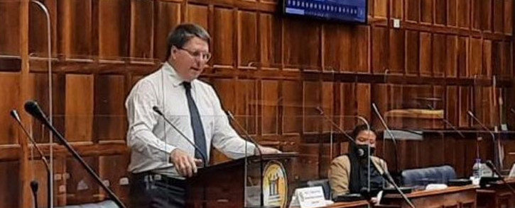 FILE: Western Cape Finance and Economic Opportunities MEC David Maynier presents the province's budget in the Western Cape Legislature on 16 March 2020. Picture: @WesternCapeGov/Twitter