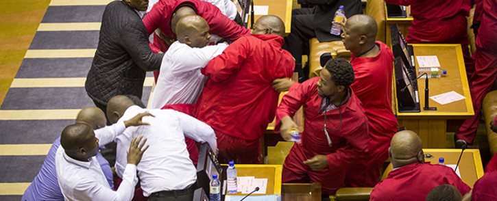 FILE: EFF MPs were forcefully removed from the National Assembly on 17 May 2016. Picture: Aletta Harrison/EWN.