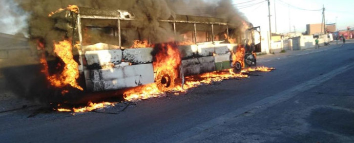 A Golden Arrow was torched during protest action in Khayelitsha on 12 November 2020. Picture: Supplied