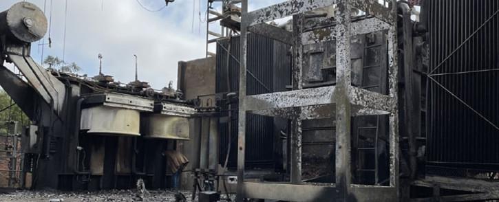 Fire-damaged infrastructure at the Robertsham substation. Picture: @mphomoerane/Twitter